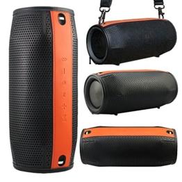 Pushingbest Protective Case Premium PU Abdeckung Hülle Schutztasche Sleeve Skins für JBL Xtreme- Schwarz+Orange(Schulterriemen ist nicht im Lieferumfang enthalten) -