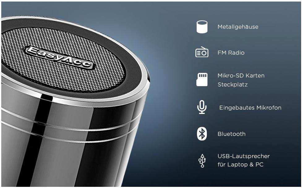Mini Bluetooth Lautsprecher mini EasyAcc