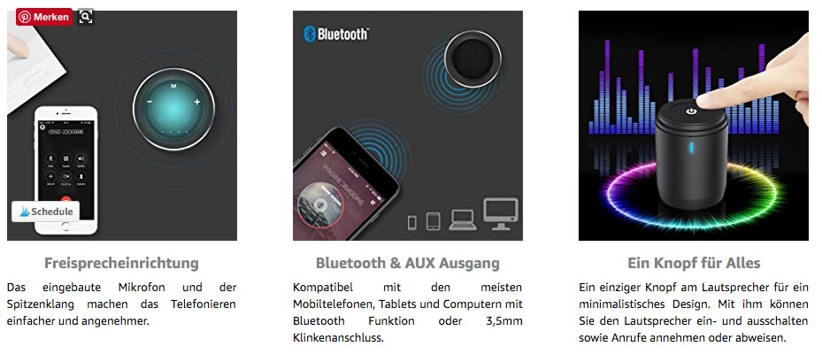 Usmain Mini-Bluetooth-Lautsprecher-Usmain