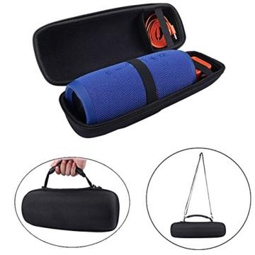JBL Charge 3 Taschen & Schalen EVA Hart Fall Reise Passend für Ladegeräte und Kabel Tragen Tasche für JBL Charge3 Wireless Bluetooth Lautsprecher (Black with belt) -